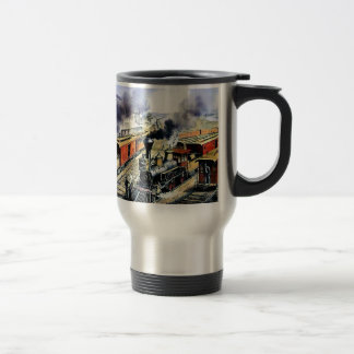 American railroad steam engine trains stainless steel travel mug
