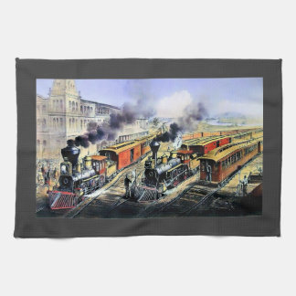 American railroad steam engine trains kitchen towel