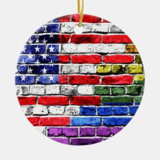 American Rainbow Flag Round Ceramic Decoration