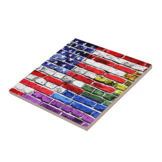 American Rainbow Flag Tile