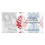 american red white and blue damask photo cards