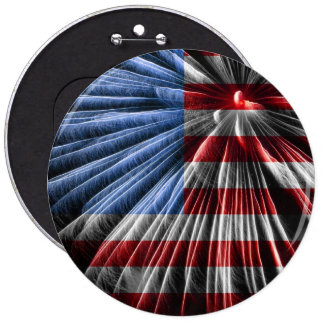 American Red White & Blue Flag Over Fireworks 6 Cm Round Badge
