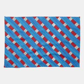 American Red White Blue Wooden Lattice Look Tea Towel