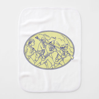 American Revolutionary Soldiers Marching Oval Mono Burp Cloth