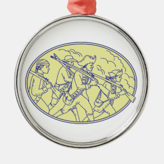 American Revolutionary Soldiers Marching Oval Mono Christmas Ornament