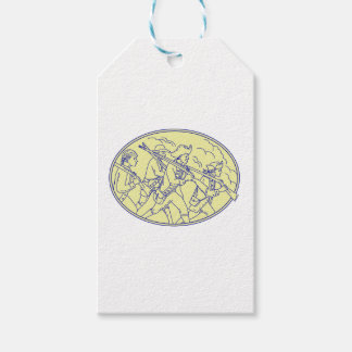 American Revolutionary Soldiers Marching Oval Mono Gift Tags