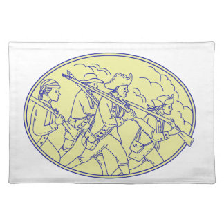 American Revolutionary Soldiers Marching Oval Mono Placemat