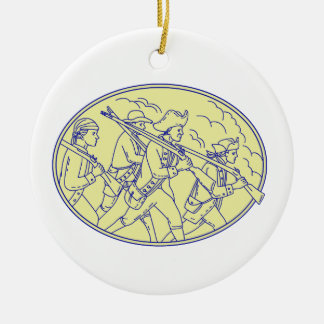 American Revolutionary Soldiers Marching Oval Mono Round Ceramic Decoration