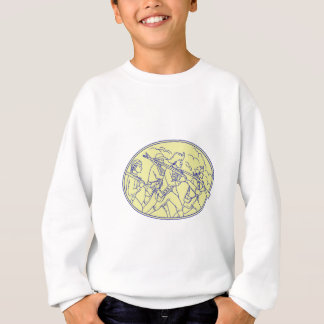 American Revolutionary Soldiers Marching Oval Mono Sweatshirt