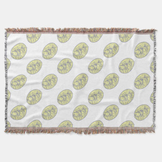 American Revolutionary Soldiers Marching Oval Mono Throw Blanket
