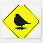 American Robin Bird Silhouette Crossing Sign Mousepads