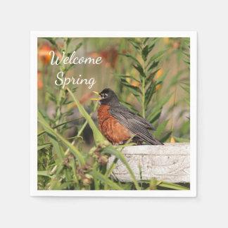 American robin singing disposable napkin