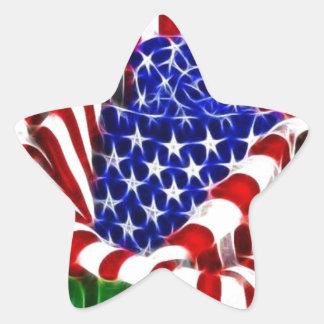 American Rose Flag Star Sticker