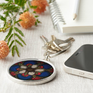 American Rose of Reconciliation Silver-Colored Round Key Ring