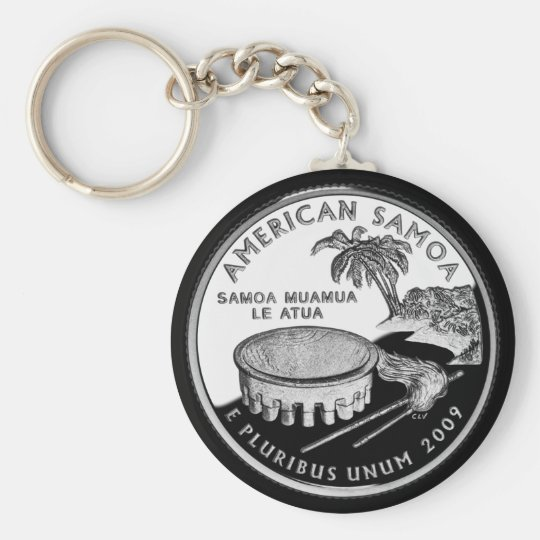 AMERICAN SAMOA BASIC ROUND BUTTON KEY RING