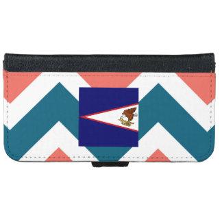 American Samoa Flag Box on Colorful Chevron iPhone 6 Wallet Case
