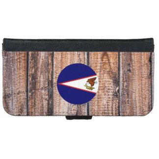 American Samoa flag circle on wood background iPhone 6 Wallet Case