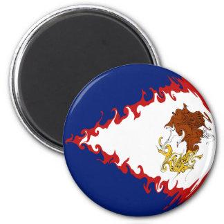 American Samoa Gnarly Flag 6 Cm Round Magnet