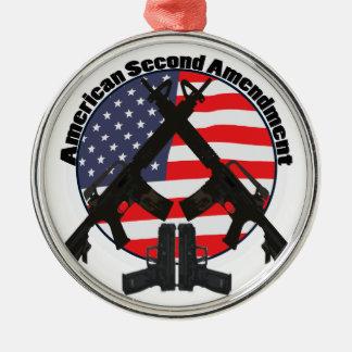 American Second Amendment Silver-Colored Round Decoration