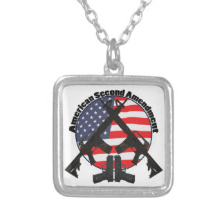 American Second Amendment Silver Plated Necklace