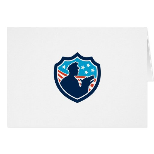 American Security Guard With Police Dog Shield Greeting Card