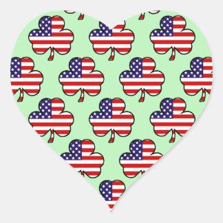 American Shamrocks Heart Sticker