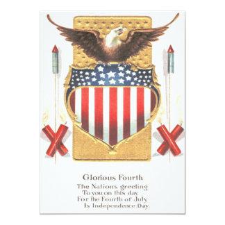 American Shield Bald Eagle Fireworks 13 Cm X 18 Cm Invitation Card