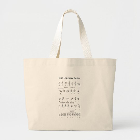 American Sign Language Alphabet and Numbers Large Tote Bag
