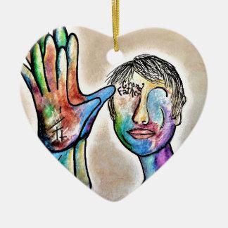 American Sign Language GRANDFATHER Ceramic Heart Decoration