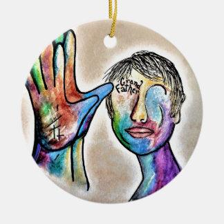 American Sign Language GRANDFATHER Round Ceramic Decoration