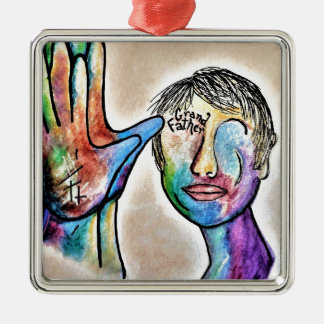 American Sign Language GRANDFATHER Silver-Colored Square Decoration