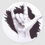 AMERICAN SIGN LANGUAGE I LOVE YOU ROUND STICKER