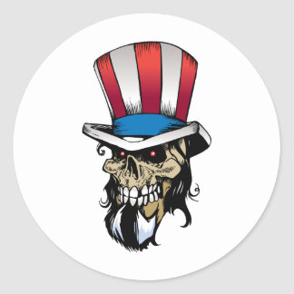 American Skull Round Sticker