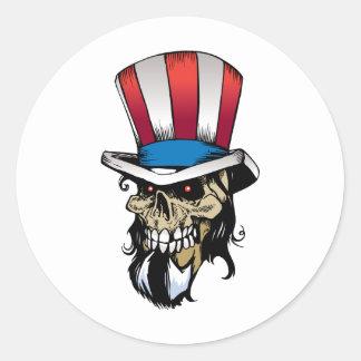 American Skull Round Stickers