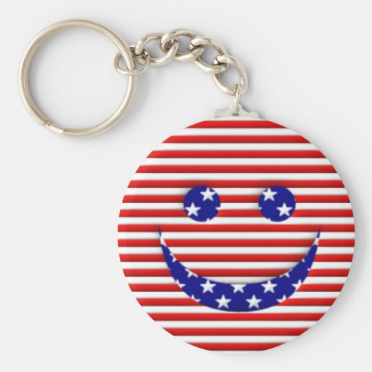 American Smiley Face Basic Round Button Key Ring