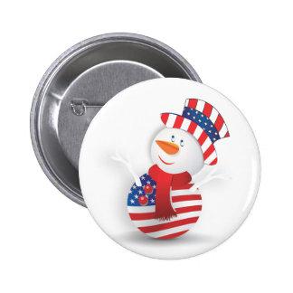American snowman 6 cm round badge