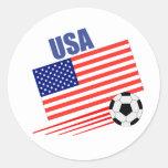 American Soccer Team Round Sticker
