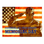 American soldier salute flag Memorial Day Post Cards