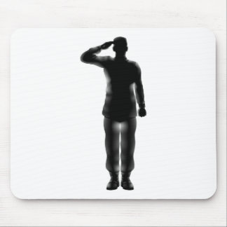 American soldier saluting silhouette mousepads
