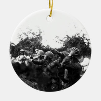 American Soldiers on the Piave Front World War I Round Ceramic Decoration