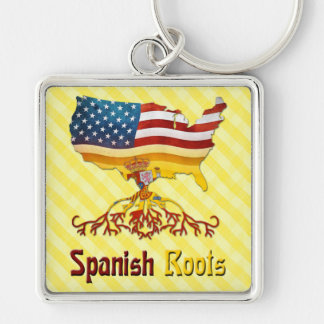 American Spanish Roots Keyring Silver-Colored Square Key Ring