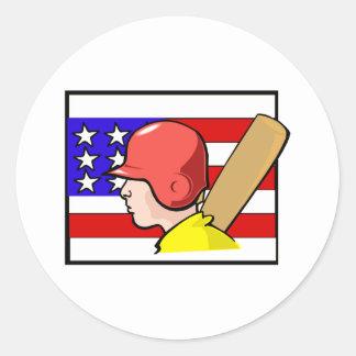 American sport round sticker