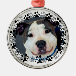 American Staffordshire Terrier-Am Staff Photo Silver-Colored Round Decoration