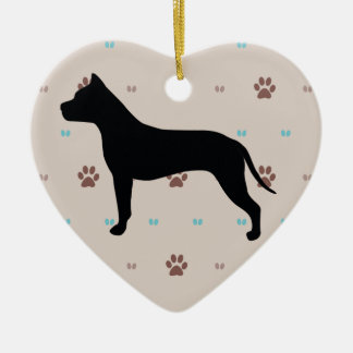 American Staffordshire Terrier Ceramic Heart Decoration