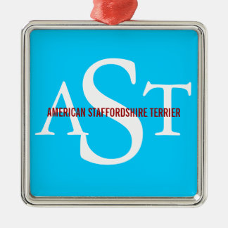American Staffordshire Terrier Silver-Colored Square Decoration
