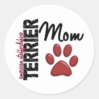 American Staffordshire Terrier Mom 2 Classic Round Sticker
