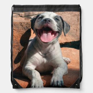 American Staffordshire Terrier puppy Portrait 4 Drawstring Bag