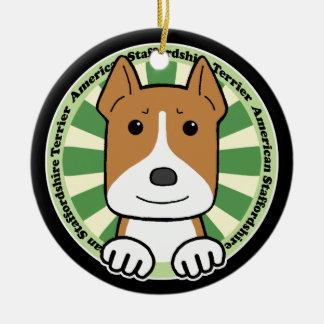 American Staffordshire Terrier Round Ceramic Decoration