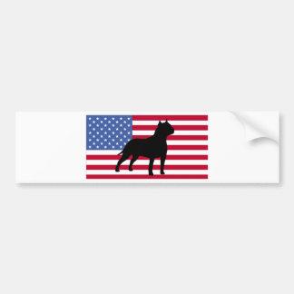 american staffordshire terrier silhouette flag bumper sticker