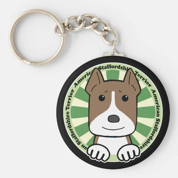American Stafforshire Terrier Basic Round Button Key Ring